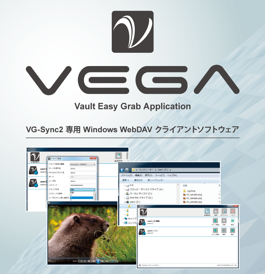 VEGA - Windows WebDAV client software for VG-Sync 2 Online Storage